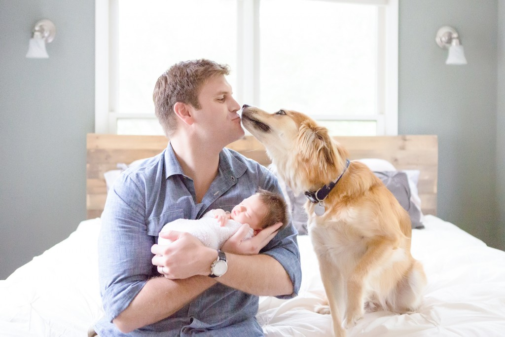 Lifestyle newborn session with dog
