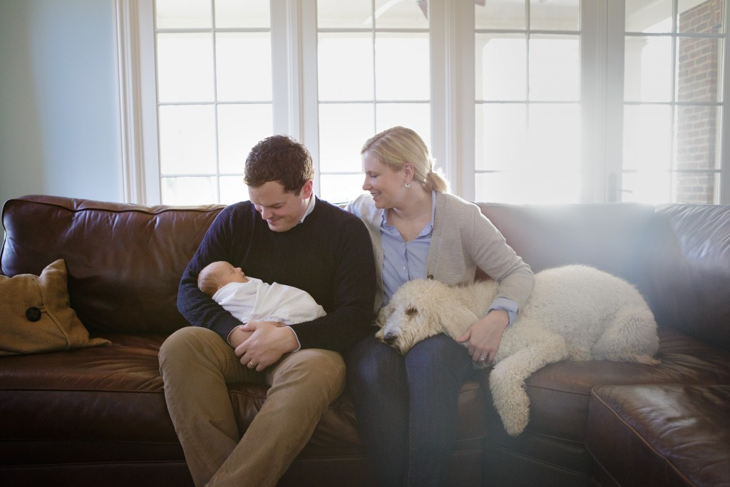 Happy family with newborn