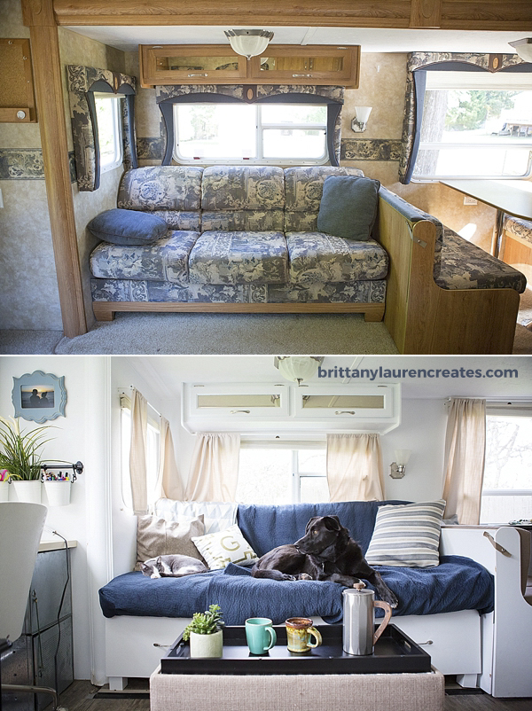 Before and After custom camper couch