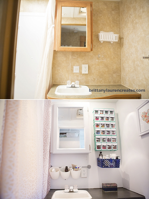 Before and after camper bathroom makeover