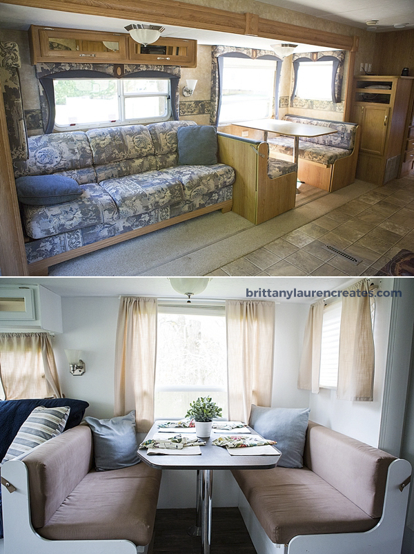 Before after gorgeous diy camper renovation Diy caravan interior design ideas
