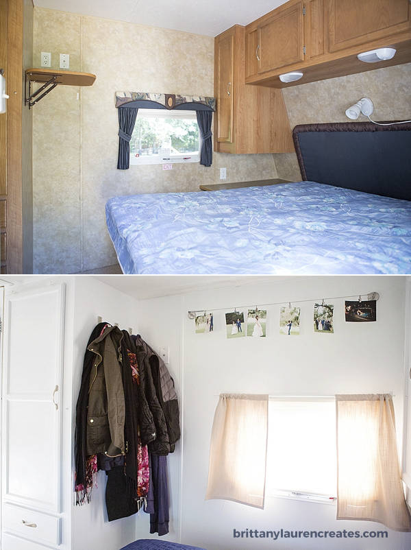 Camper bedroom makeover before and after