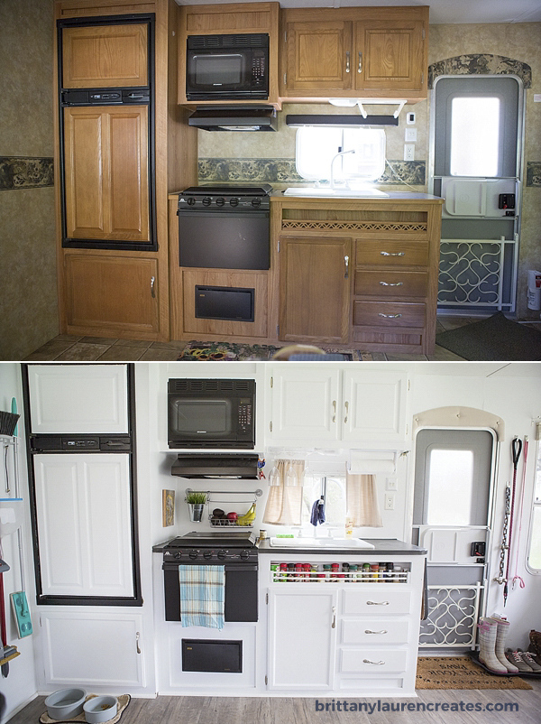Kitchen before and after in camper
