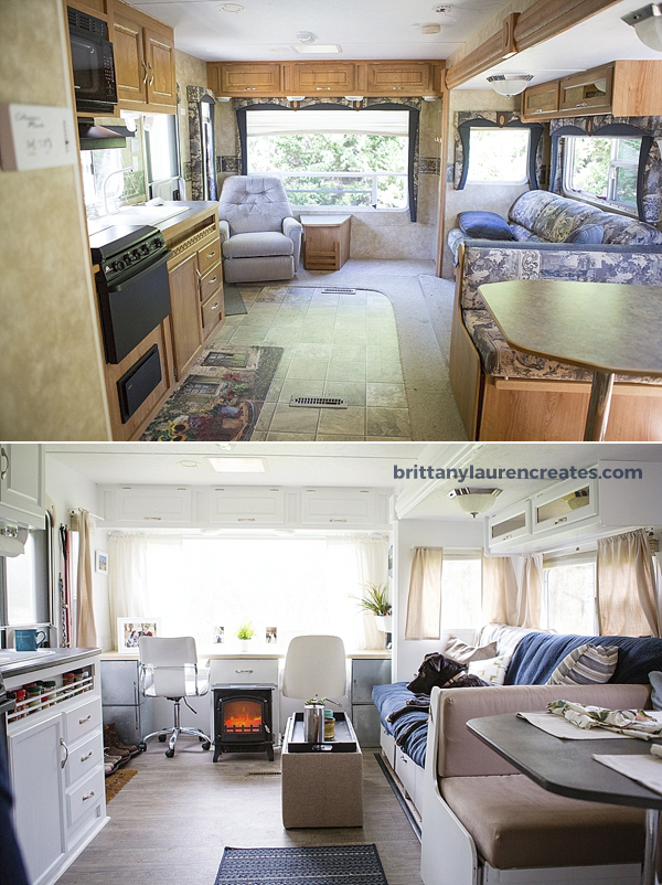 before after gorgeous diy camper renovation. Black Bedroom Furniture Sets. Home Design Ideas